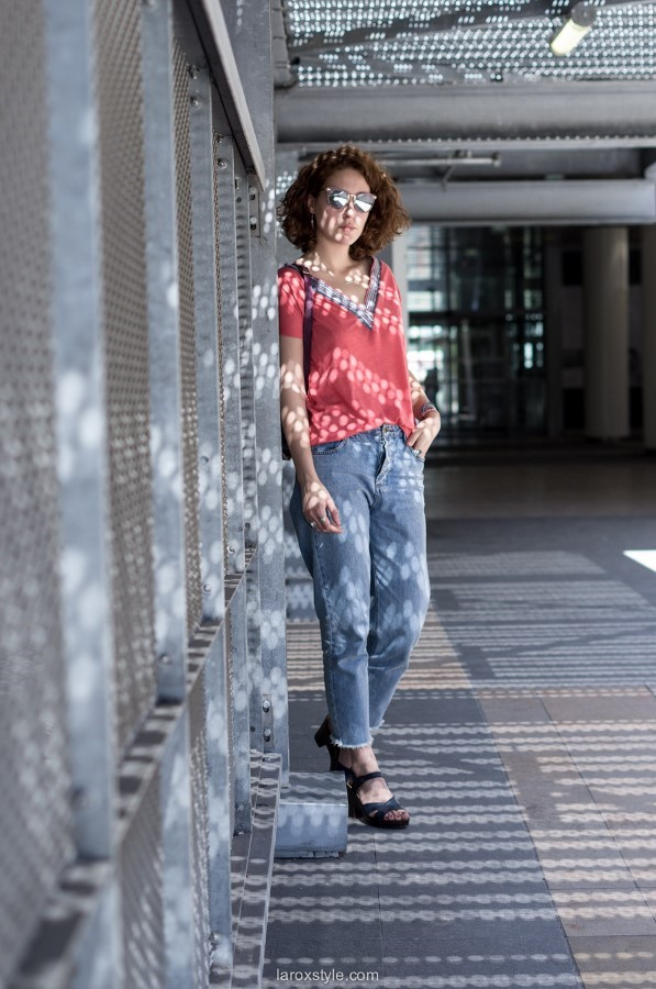 tenue rose - mom jean - blog mode
