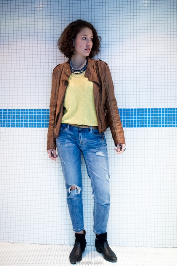 laroxstyle blog mode lyon - look denim and leather pop and shoes (4 sur 9)