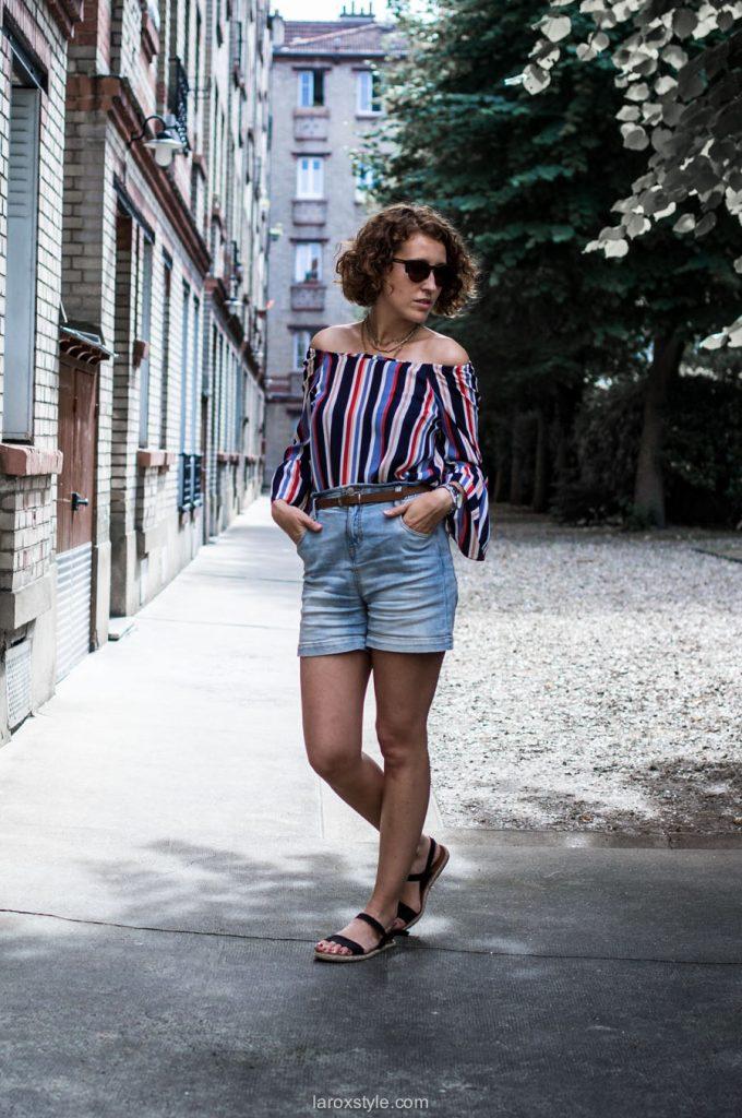 Bardot & Denim Short ! - blog mode lyon - laroxstyle