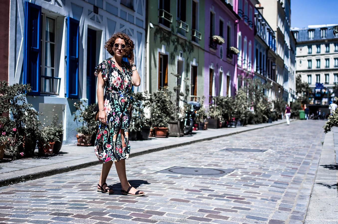 Paris - rue cremieux - look robe fleurs - street look