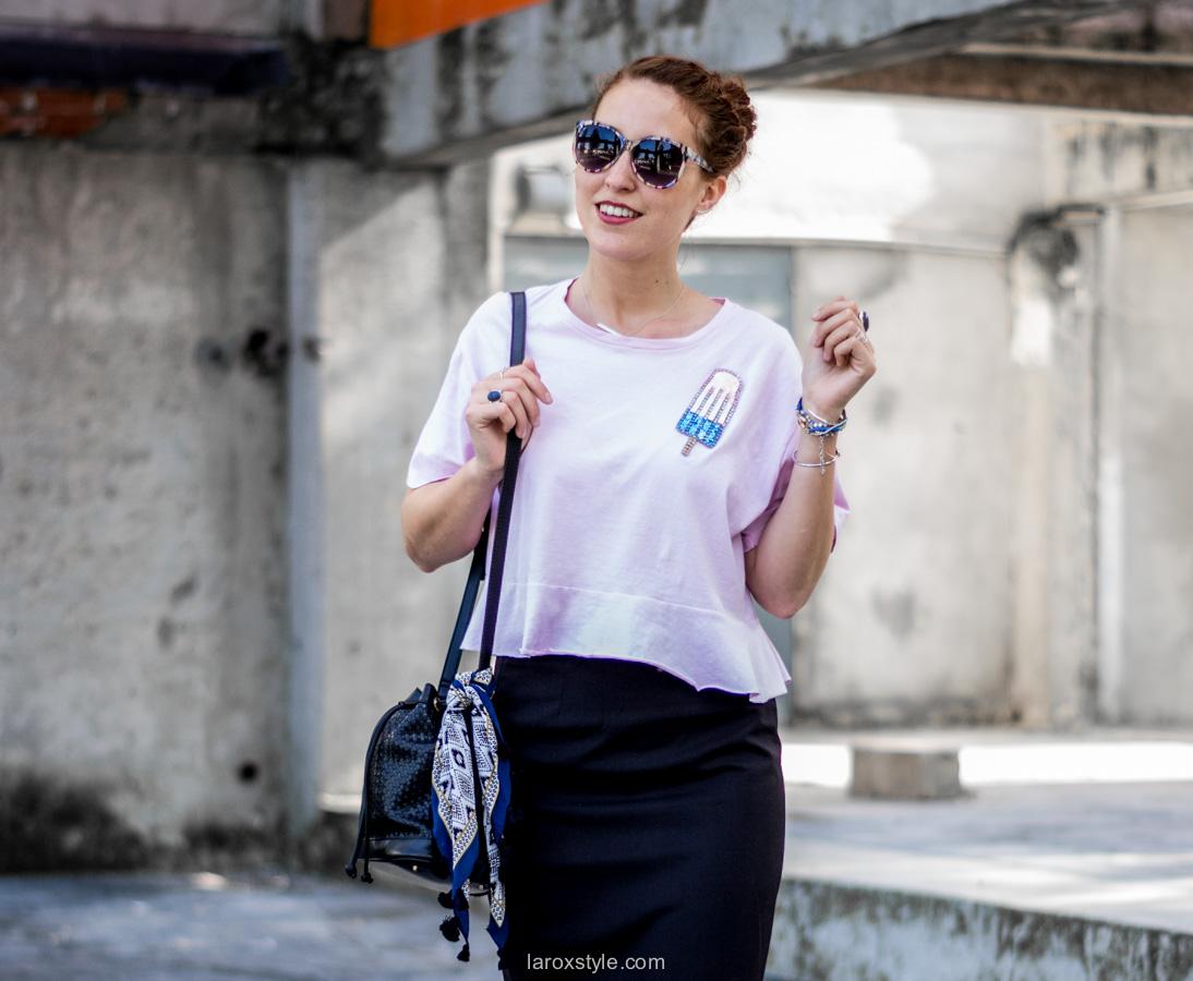 look jupe crayon - blogueuse mode
