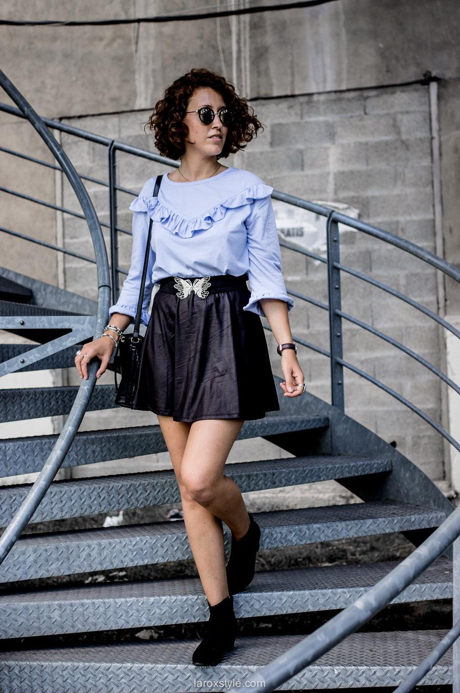 mini jupe - top a volants - blog mode