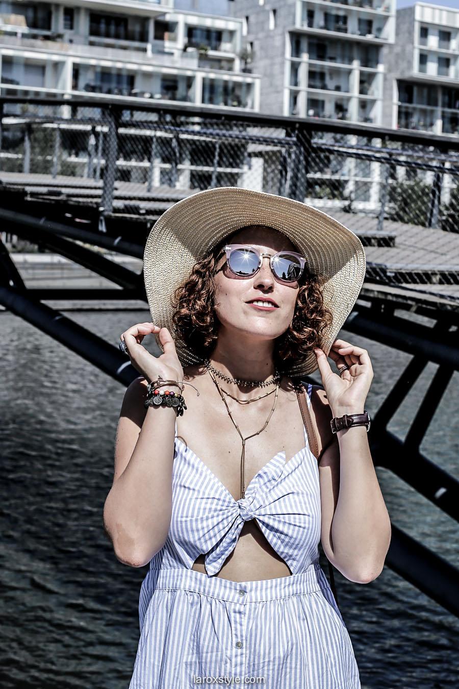 vacances en ville - look robe bleue - blog mode lyon