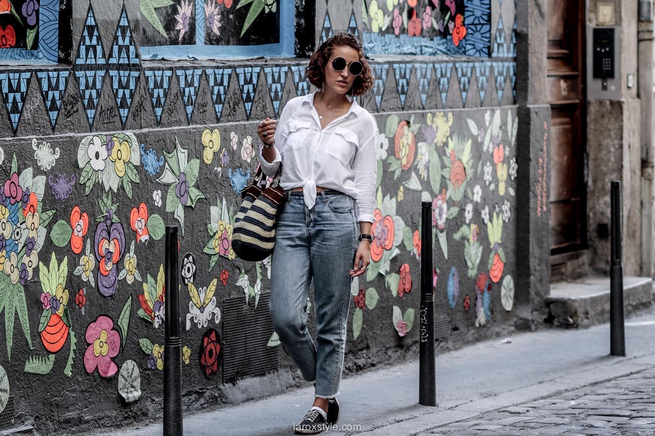 chemise blanche - mom jean - laroxstyle - blog mode lyon