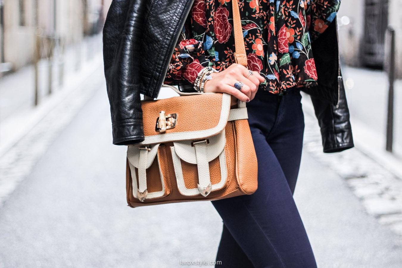 blouse fleurie - sac vintage - laroxstyle blog mode lyon-15