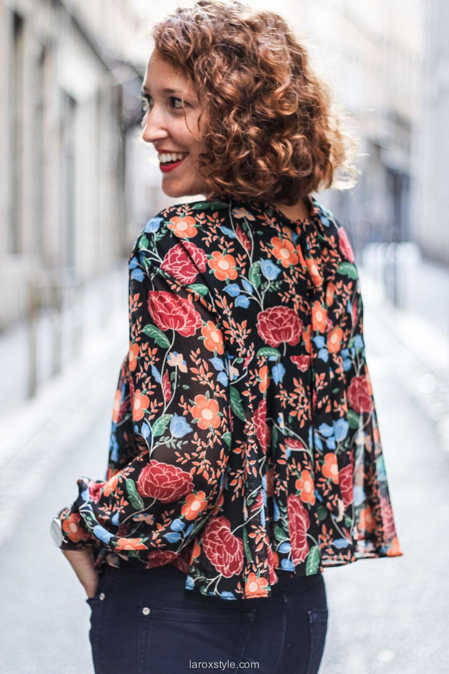 blouse fleurie - sac vintage - laroxstyle blog mode lyon-21
