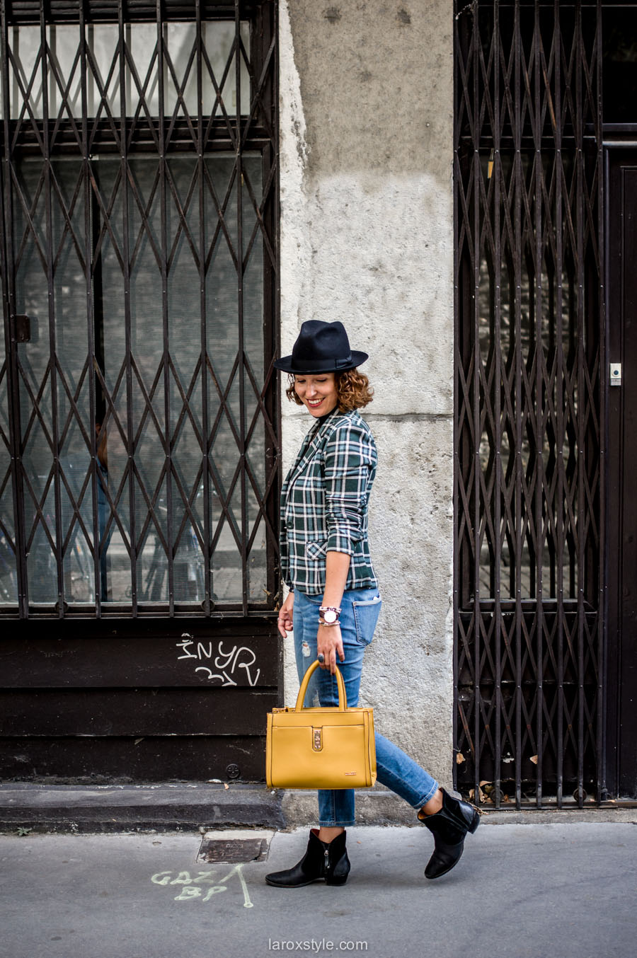 bristish style - veste a carreaux -sac dalery- laroxstyle blog mode lyon