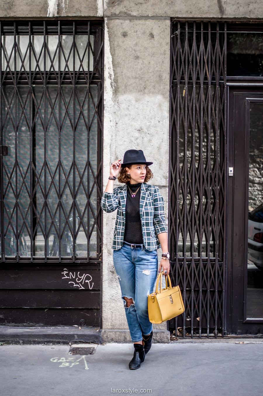 tartan et jean troue - look automne - larosxtyle - blog mode lyon